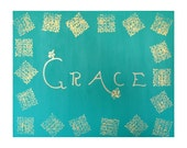 Turquoise and Gold Acrylic Painting - 16 in by 20 in canvas - Entitled GRACE - India Style - Anthropologie Style