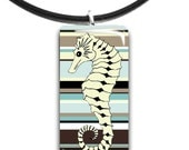 Cottage chic, Beach style, pastel colors, tranquil, seahorse pendant, cream brown aqua mint sea foam green - StedmanStudio
