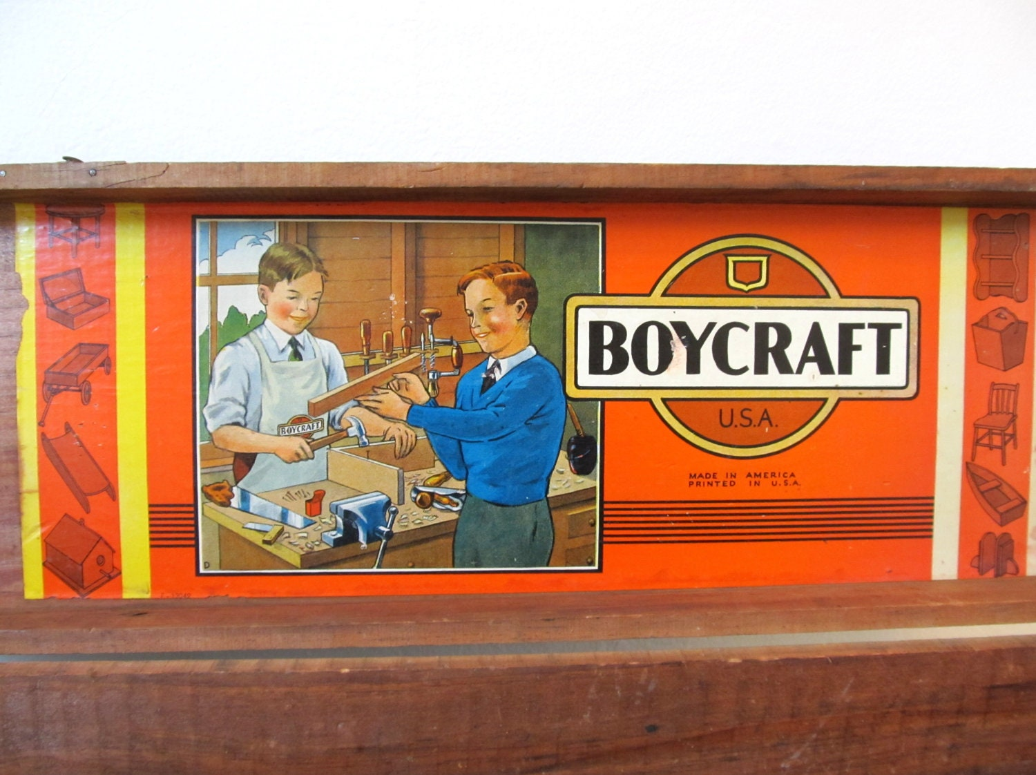 vintage hinged wood box boycraft usa kids tool box fotofuze