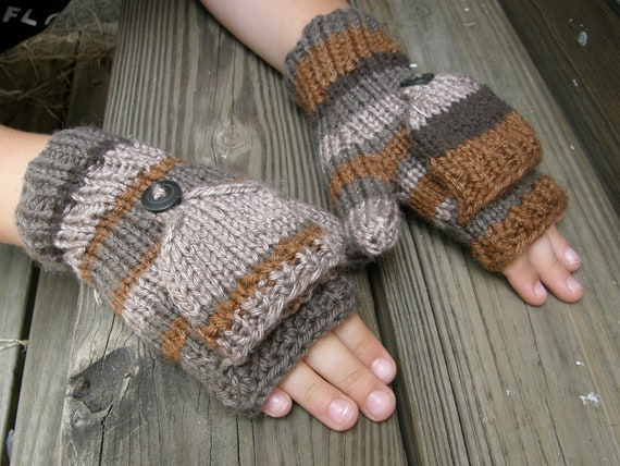 Kids striped brown mittens -  convertible fingerless gloves