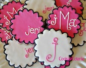 Monogram Decorated Sugar Cookies Baby Shower Bridal Shower Birthday Party Favors
