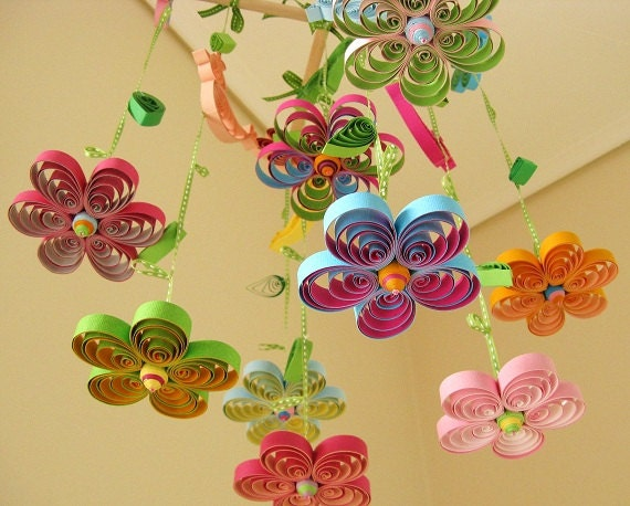 Quilled paper floral mobiles, Etsy: tsipouritsa