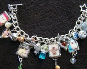 LOVE CATS - OOAK Charity charm bracelet - 7 inch - silver, pink, turquoise, magenta - long-haired cats