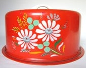 "Vintage 1950s Ransburg ""Kitchen Bouquet"" Cake Carrier, Orange Red with Flowers, Tin Cake Saver Caddy - CedarRunVintage"