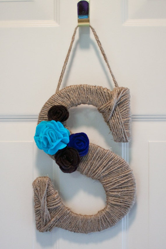 Twine Jute Wrapped Letter Monogram Door Hanger - 10 inches tall