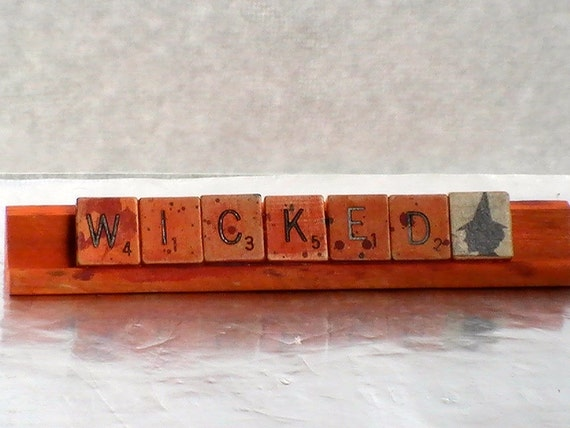 Scrabble Tile Halloween Decor -- WICKED Witch Halloween Decor -- Upcycled Scrabble Tile