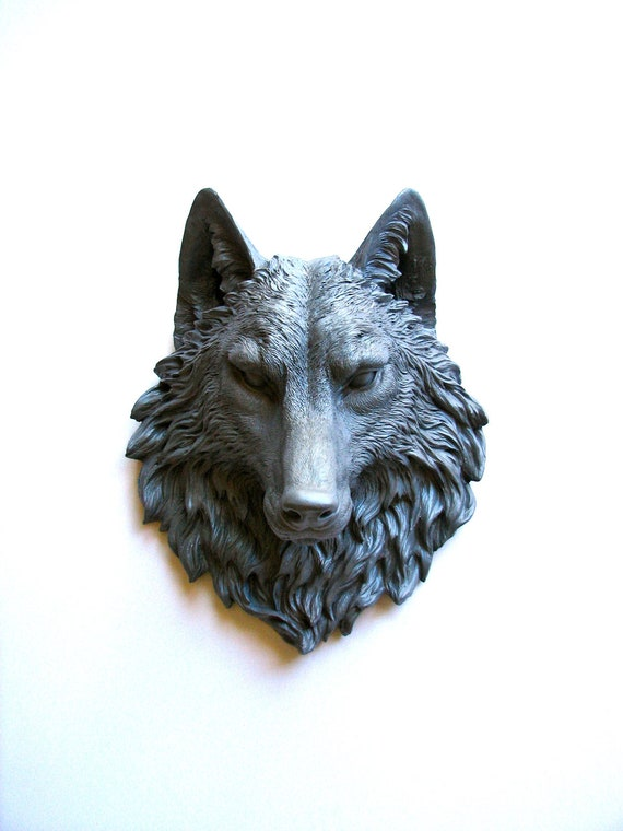 Halloween Faux Taxidermy Large Wolf: Willem the Wolf in dark gray - mahzerandvee