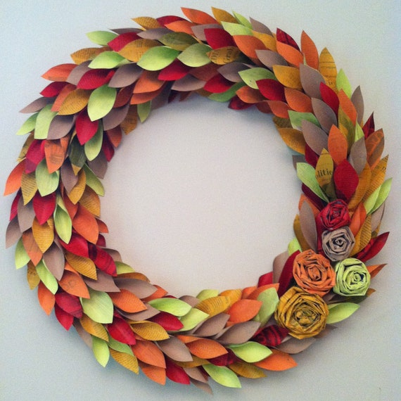 fall wreath paper - fall colors - large 22 inch newspaper rosette and leaf