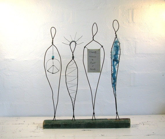 Wire Sculpture Peace and Love - Rustic Driftwood Peace Sign Art - Mixed Media Art on driftwood