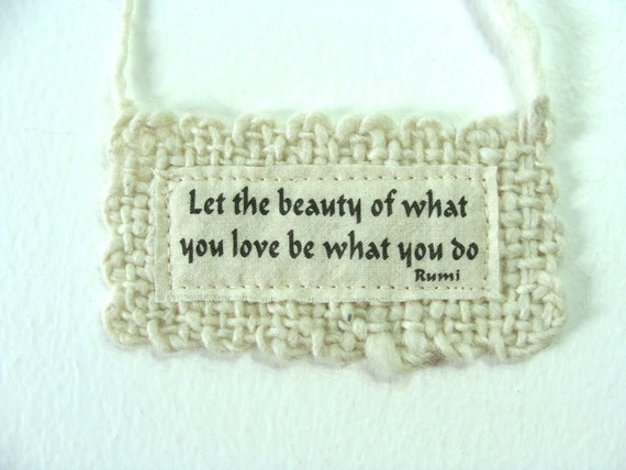 White Wedding Ornament Rumi Wall Hanging Small Handwoven Fiber Art Poetry Hand Spun Wool New Years Resolution