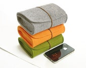 Wool Felt Case Pouch, Camera Case, Cosmetic Bag,Felt Bag-Grey Green Orange-D410 - TopHome