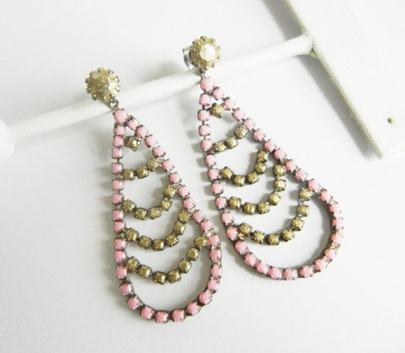 Beautiful Vintage 1950s One Of A Kind  Hand Painted Pale Pink and Metallic Rhinestone Earrings