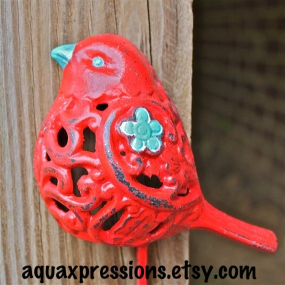 Bird Wall Hook /Red /Aqua Blue accent / Whimsy by AquaXpressions