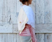 Wrapped in Your Love upcycled cream and white linen lace boho romantic wrap wedding shawl - wearlovenow