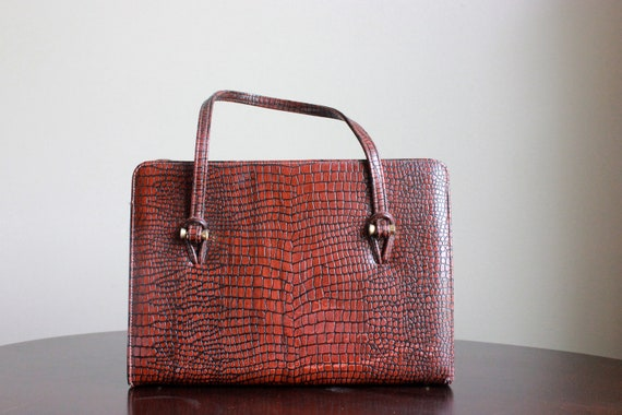 Vintage Faux Snakeskin Oxblood Purse ($22)