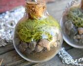 Natural Green Moss Terrarium Necklace...Firefly Gardens - FireFlyGardens