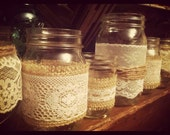 Burlap and Lace Mason Jars - Candle holder - Vase - Wedding centerpiece - Shower (Set of 5) - mix and match - loveinamasonjar