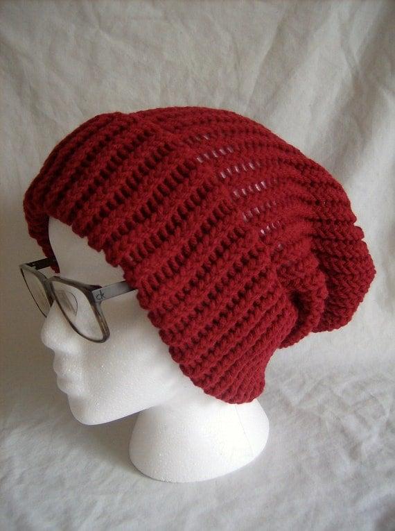 Baggy Knit Beanie (color: Burgundy)