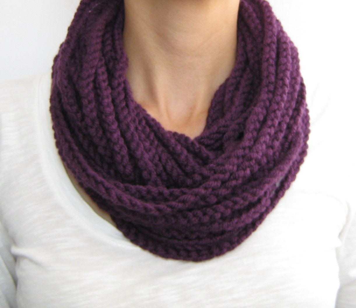 Purple crochet chain scarfcowlneck warmer infinity scarf Cowl Neck Scarves Crochet