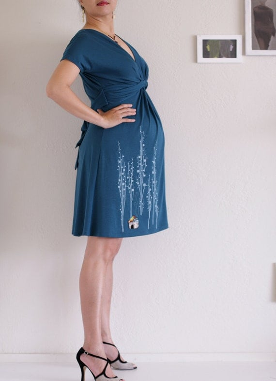 Maternity Knee Length Dress . Teal Blue Nursing dress . Handmade Applique Dress- Surrounded by big trees - size Small