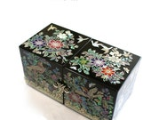 Lacquer ware inlaid new mother of pearl handcrafted jewelry case,jewel box trinket box Bird &Flowers Design