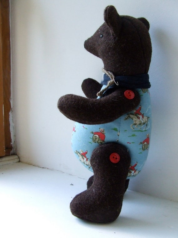 Wool felt button-jointed bear