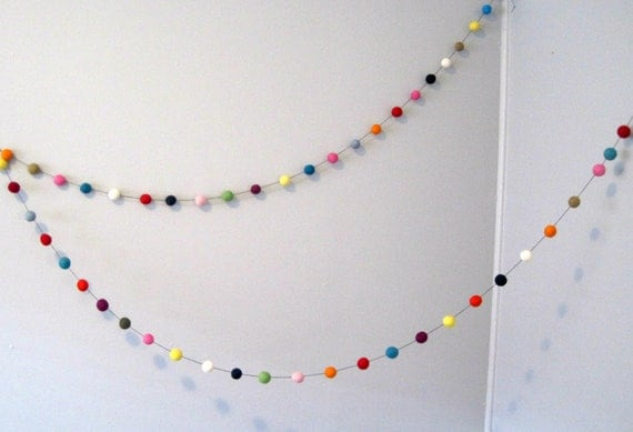Felt Ball Garland Rainbow Party - 50 felt balls, 3 metres