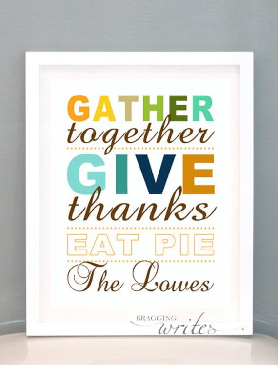 Thanksgiving Wall Art - Fall or Autumn Print Design- Custom Family Wall Art and Fall Home Decor - Printable (Give Thanks Theme)