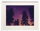 White Framed and Matted Flagstaff, AZ Color Landscape Night Time Stars Photography - f7studios