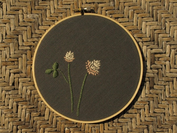 "Hand embroidered clover wall art ready to hang in 5"" wooden embroidery hoop"