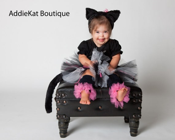 Black Kitty Cat Halloween Costume - Boutique Tutu Costume - Complete with Leg Warmers, Ears and Tail