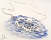 Tatting blue and white medallion necklace - Cloudy Sky - Tatted necklace, lace medallion on a chain - MadeByRevi
