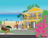 Beach Day in the Caribbean  Art Illustration Graphic Print Island life
