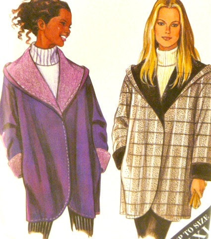 Simplicity Misses Fleece Wide Colllar Hooded Draped Jacket Pattern