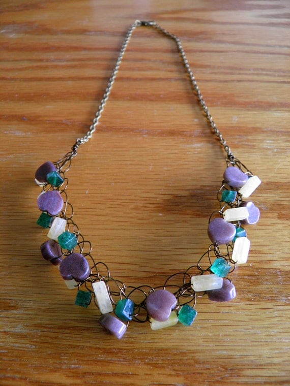 Charming Purple Aventurine, Cream Quartz and Green Aventurine Woven Semi Precious Necklace