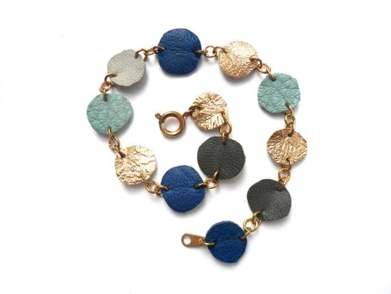 Leather bubbles bracelet in blue, gold and grey