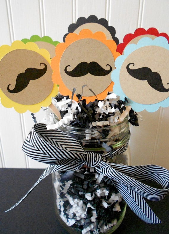 Mustache Cupcake Toppers.  Mustache Cupcake Picks.  Cupcakes.  Set of 12.  Variety of Colors.