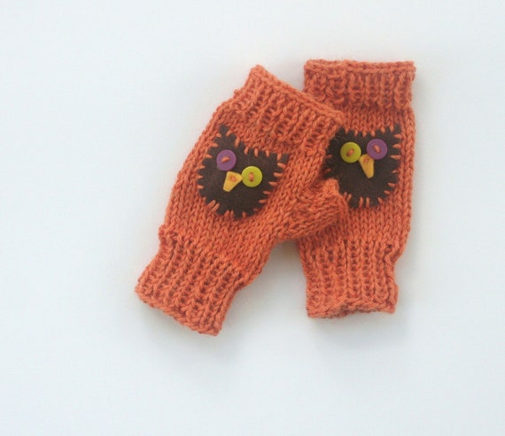 Childs Fingerless Mittens, with thumbs, orange with owls