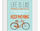 Bicycle art poster, quote print, inspirational quote, quote art, nursery decor, bike print, Life is Like Riding A Bicycle - printdesignstudio