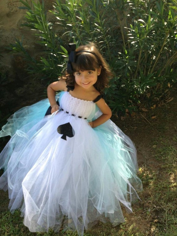Alice in Wonderland tutu dress with matching hairpiece