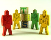 Vintage Mod Wooden Stacking Mid Century Children's Toys - StructureandSpice