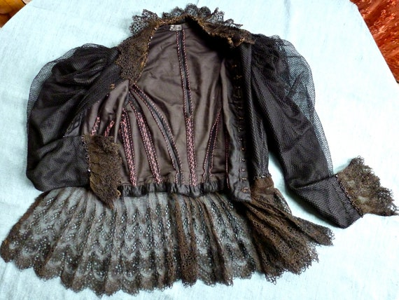 NEW PRICE Edwardian Gentlewomans Outfit Skirt Jacket Corset 1900s Victorian Lace Peplum Black Goth Steam Punk