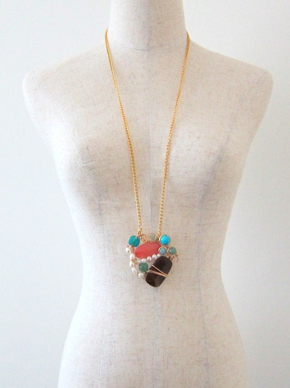 Wire Wrapped Wood and Pearl Statement Necklace