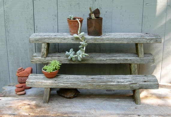 Reclaimed Driftwood Plant Stands - Handcrafted Wooden Tables - Weathered and Worn