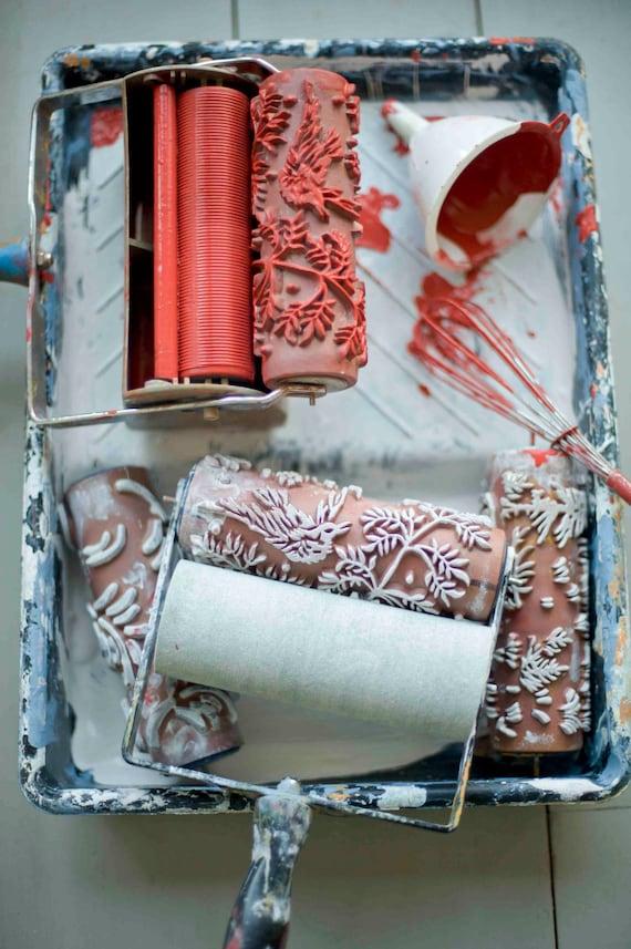 rolo pintura papel parede falso rolo alto-relevo