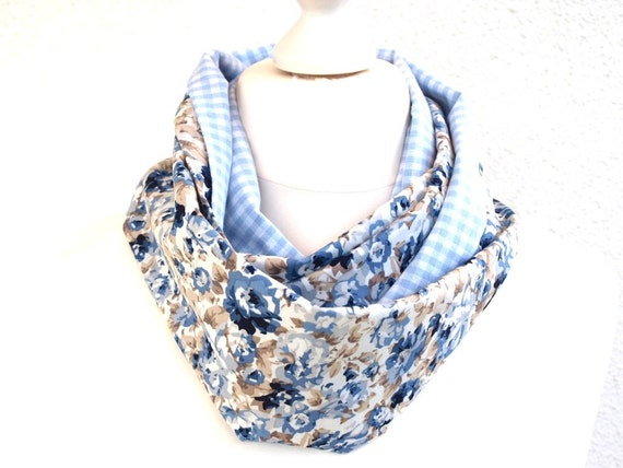 Blue Infinity Scarf Womens Neck or Head Scarf