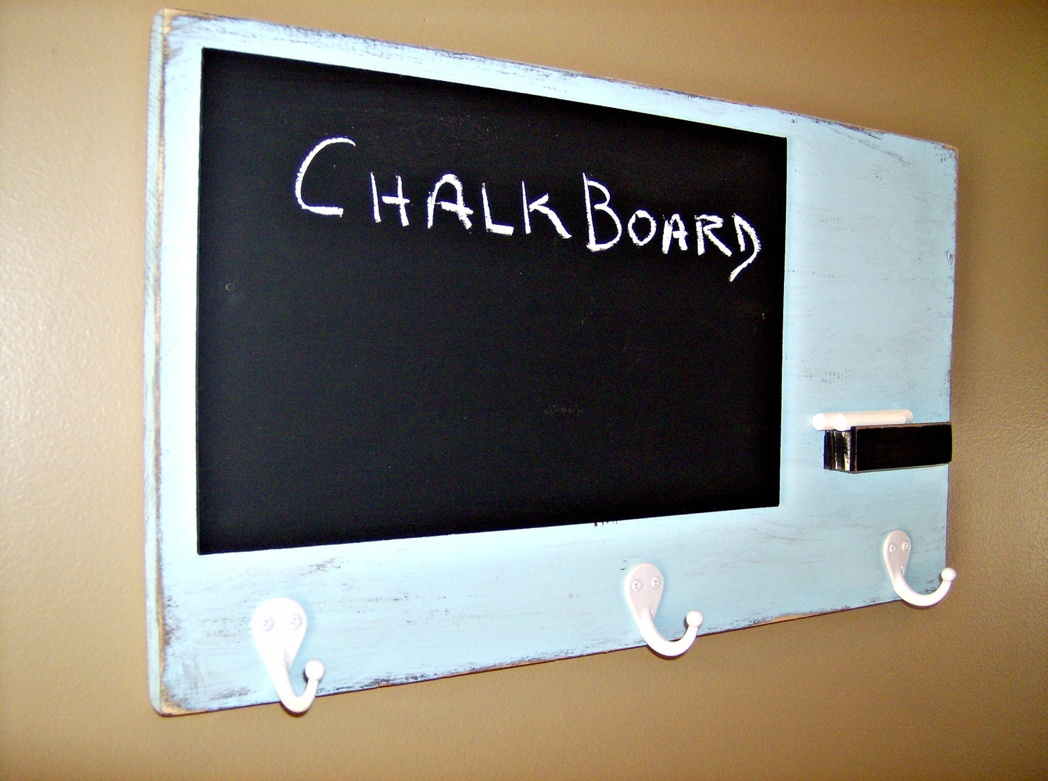 Chalk Board with Key Hangers TURQUOISE by BlueRidgeSawdust