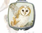 Vintage Owl Print Mirror Compact