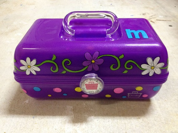Custom Hand Painted Caboodle Makeup Hair Accessories Organizer for Girls and Teens