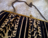 Black and Tan Vintage Brocade Clutch Purse with Organic Motif and Chain Handle